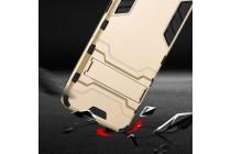 Задняя панель-крышка из прочного пластика с матовым противоскользящим покрытием для Meizu M5 (M611A) 5.2 с подставкой в золотом цвете