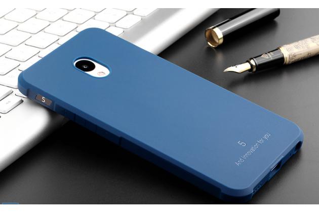 Фирменная ультра-тонкая полимерная из мягкого качественного силикона задняя панель-чехол-накладка для Meizu M5 (M611A) 5.2 синяя