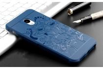 Фирменная роскошная задняя панель-чехол-накладка из мягкого силикона с объемным  3D изображением на Meizu M5 (M611A) 5.2 синяя