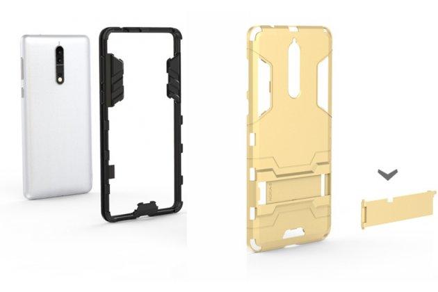 Задняя панель-крышка из прочного пластика с матовым противоскользящим покрытием для Meizu M5 (M611A) 5.2 с подставкой в сером цвете