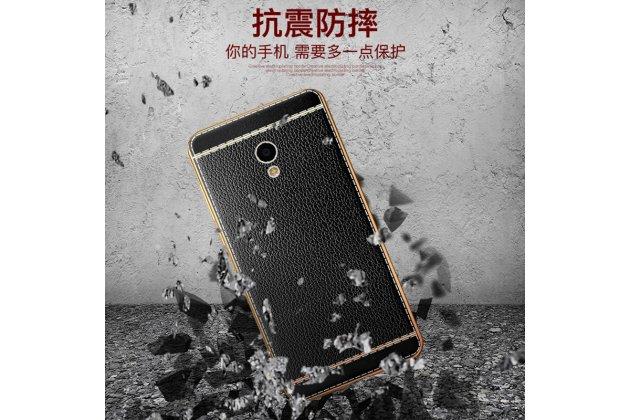 Фирменная премиальная элитная крышка-накладка из качественного силикона с дизайном под кожу для Meizu M5 (M611A) 5.2  черная