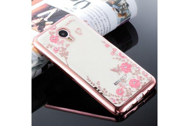 """Фирменная задняя панель-чехол-накладка из прозрачного 3D  силикона с объёмным рисунком для Meizu M5 (M611A) 5.2  тематика """"Розовые Цветы"""" которая огибает логотип чтобы была видна марка телефона"""