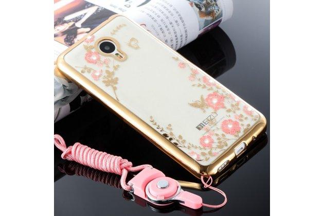 """Фирменная задняя панель-чехол-накладка из прозрачного 3D  силикона с объёмным рисунком для Meizu M5 (M611A) 5.2  тематика """"Золотое Цветы"""" которая огибает логотип чтобы была видна марка телефона"""