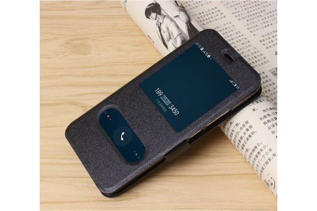 Фирменный чехол-книжка для Meizu M5 (M611A) 5.2 черный с окошком для входящих вызовов и свайпом водоотталкивающий
