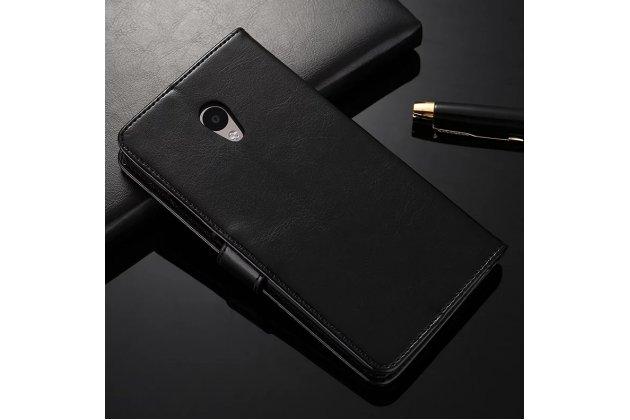 Фирменный чехол-книжка из качественной импортной кожи с подставкой застёжкой и визитницей для Meizu M5 (M611A) 5.2 черный
