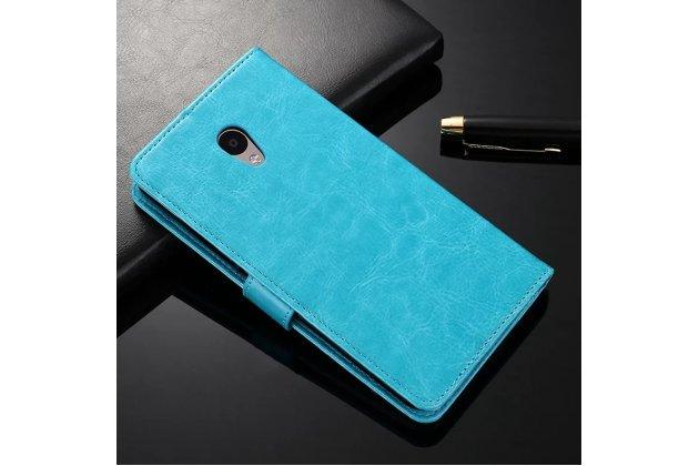 Фирменный чехол-книжка из качественной импортной кожи с подставкой застёжкой и визитницей для Meizu M5 (M611A) 5.2 голубой