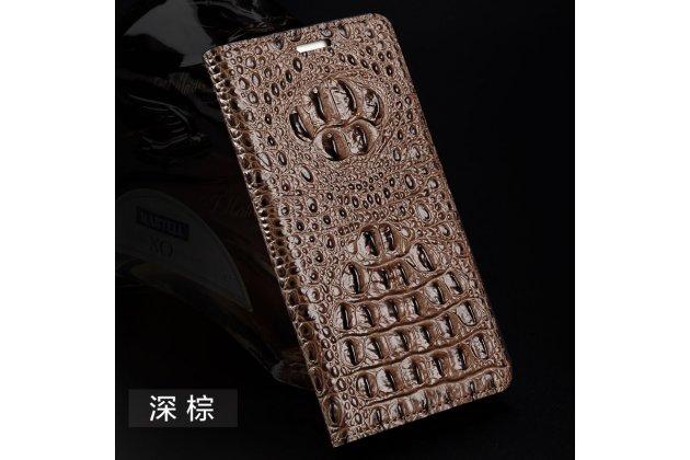 Фирменный роскошный эксклюзивный чехол с объёмным 3D изображением кожи крокодила коричневый для Meizu M5 (M611A) 5.2 . Только в нашем магазине. Количество ограничено