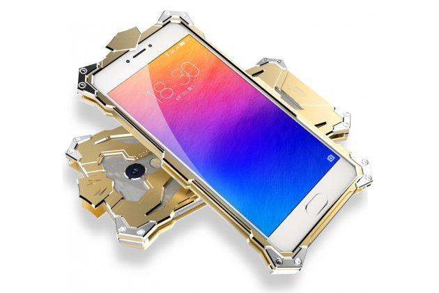 Противоударный металлический чехол-бампер из цельного куска металла с усиленной защитой углов и необычным экстремальным дизайном для Meizu M5 (M611A) 5.2 золотого цвета