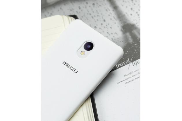 Фирменная задняя панель-крышка-накладка из тончайшего и прочного пластика с логотипом для Meizu M5 Note белая