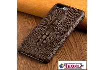 Фирменная роскошная эксклюзивная накладка с объёмным 3D изображением рельефа кожи крокодила коричневая для Meizu M5 Note. Только в нашем магазине. Количество ограничено