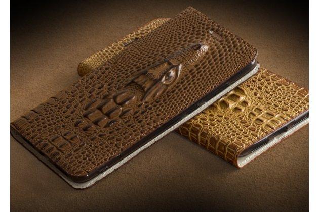 Фирменный роскошный эксклюзивный чехол с объёмным 3D изображением кожи крокодила коричневый для Meizu M5 Note . Только в нашем магазине. Количество ограничено