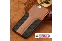 Фирменная роскошная задняя панель-крышка обтянутая импортной кожей для Meizu M5 Note коричневая с черной вставкой под кожу змеи