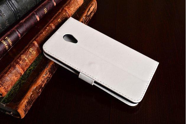 """Фирменный чехол-книжка из качественной импортной кожи с подставкой застёжкой и визитницей для Meizu M5 Note"""" белый"""