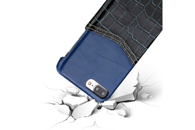 Фирменная роскошная элитная премиальная задняя панель-крышка для Meizu M5 Note из качественной кожи буйвола с вставкой под кожу рептилии в синем цвете