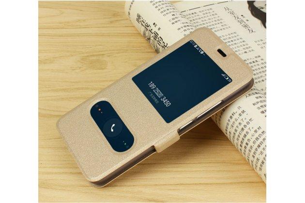 """Фирменный чехол-книжка для Meizu M5 Note""""  золотой с окошком для входящих вызовов и свайпом водоотталкивающий"""