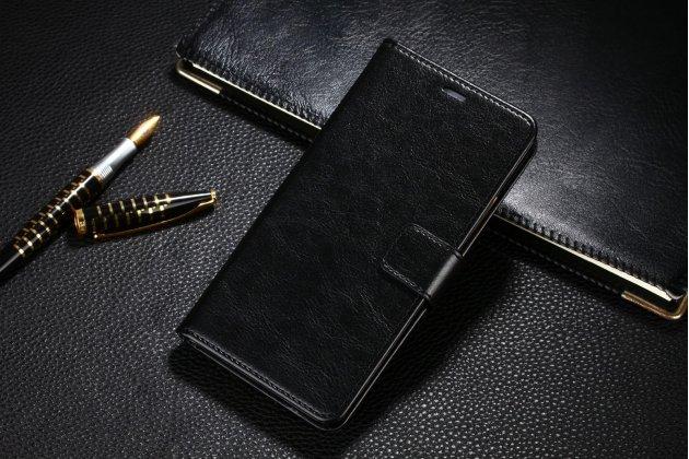 """Фирменный чехол-книжка из качественной импортной кожи с подставкой застёжкой и визитницей для Meizu M5 Note"""" черный"""