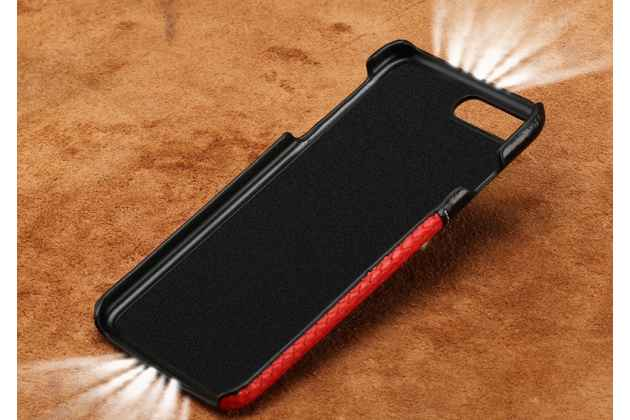 Фирменная роскошная задняя панель-крышка обтянутая импортной кожей для Meizu M5 Note черная с белой вставкой под кожу змеи