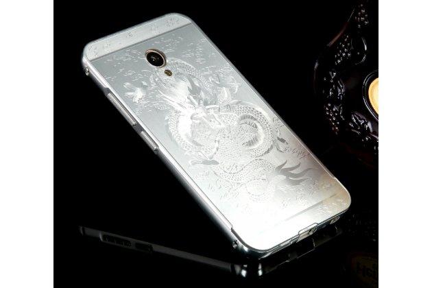 """Фирменная металлическая задняя панель-крышка-накладка из тончайшего облегченного авиационного алюминия для Meizu M5 Note """"тематика Китайский дракон""""серебристая"""