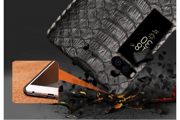 Фирменная элегантная экзотическая задняя панель-крышка с фактурной отделкой натуральной кожи змеи для Meizu Pro 7 черная. Только в нашем магазине. Количество ограничено.
