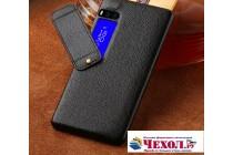 Фирменная премиальная элитная крышка-накладка из тончайшего прочного пластика и качественной импортной кожи  для Meizu Pro 7  черная