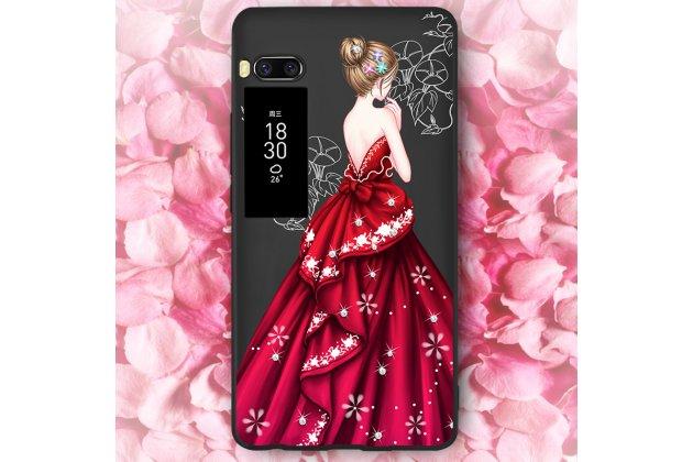 Фирменная уникальная задняя панель-крышка-накладка из тончайшего силикона для Meizu Pro 7 с объёмным 3D рисунком тематика Красное платье