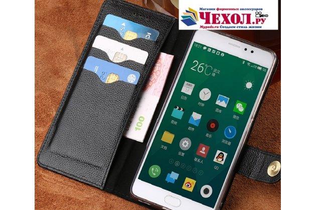 Фирменный чехол-книжка из качественной импортной кожи с мульти-подставкой застёжкой и визитницей для Meizu Pro 7 с окном вызова для второго экрана черный