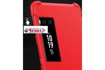 Задняя панель-крышка из мягкого качественного силикона с матовым противоскользящим покрытием для Meizu Pro 7  с подставкой в красном цвете