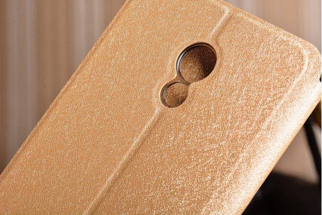 Фирменный чехол-книжка водоотталкивающий с мульти-подставкой на жёсткой металлической основе для Meizu Pro 6 Plus  золотой