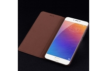 Фирменный качественный элитный премиальный чехол для телефона Meizu Pro 6 Plus из качественной натуральной кожи коричневый
