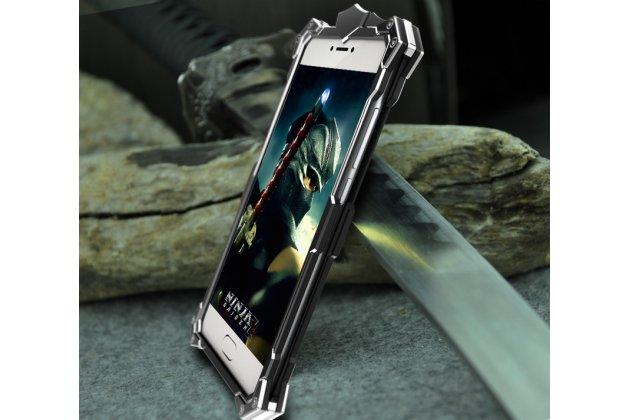 Противоударный металлический чехол-бампер из цельного куска металла с усиленной защитой углов и необычным экстремальным дизайном  для  Meizu Pro 6 Plus черного цвета