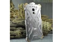 Противоударный металлический чехол-бампер из цельного куска металла с усиленной защитой углов и необычным экстремальным дизайном  для  Meizu Pro 6 Plus серебристого цвета