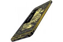 """Фирменная металлическая задняя панель-крышка-накладка из тончайшего облегченного авиационного алюминия для Meizu Pro 7 """"тематика Дракон"""" черная"""