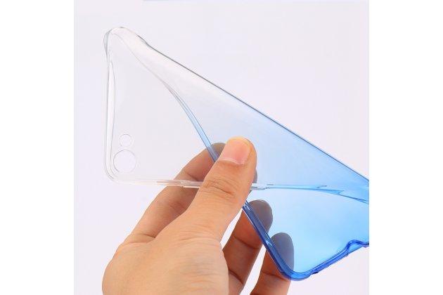 Фирменная ультра-тонкая полимерная из мягкого качественного силикона задняя панель-чехол-накладка для Meizu U20 5.5 полупрозрачный голубой