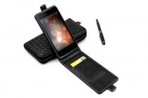 Фирменный оригинальный вертикальный откидной чехол-флип для Micromax Q333 черный из натуральной кожи Prestige Италия
