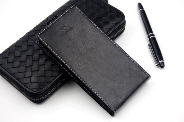 Фирменный оригинальный вертикальный откидной чехол-флип для Micromax Q383 черный из натуральной кожи Prestige Италия
