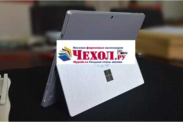Фирменная оригинальная защитная пленка-наклейка-стикер с 3d рисунком на твёрдой основе, которая не увеличивает ноутбук в размерах для Microsoft Surface Book 13.5 серебристая