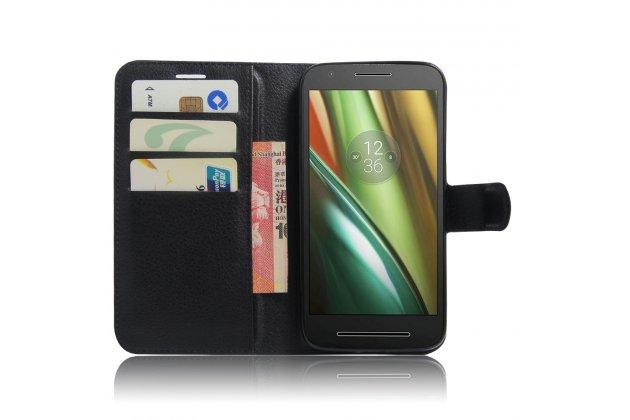 Фирменный чехол-книжка из качественной импортной кожи с мульти-подставкой застёжкой и визитницей для Motorola Moto E3 / E3 Power (XT1706) 5.0 черный