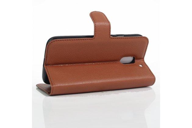 Фирменный чехол-книжка из качественной импортной кожи с мульти-подставкой застёжкой и визитницей для Motorola Moto E3 / E3 Power (XT1706) 5.0 коричневый