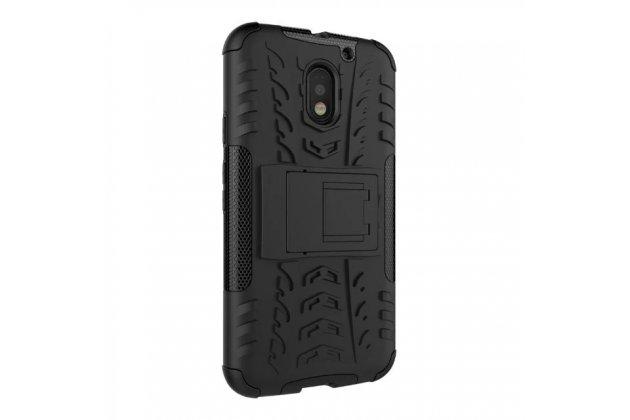Противоударный усиленный ударопрочный фирменный чехол-бампер-пенал для Motorola Moto E3 / E3 Power (XT1706) 5.0 черный