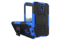 Противоударный усиленный ударопрочный фирменный чехол-бампер-пенал для Motorola Moto E3 / E3 Power (XT1706) 5.0 синий
