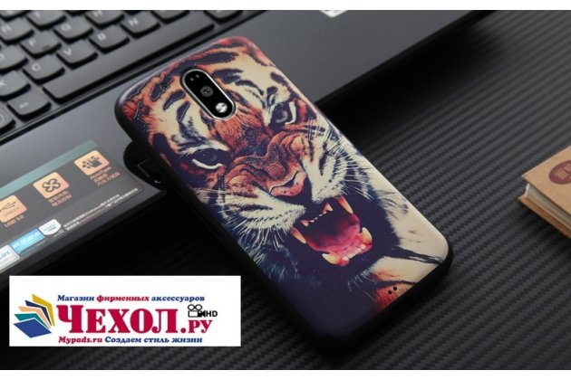"""Фирменная роскошная задняя панель-чехол-накладка  из мягкого силикона с безумно красивым расписным 3D рисунком на Motorola Moto G4 """"тематика Тигр"""""""