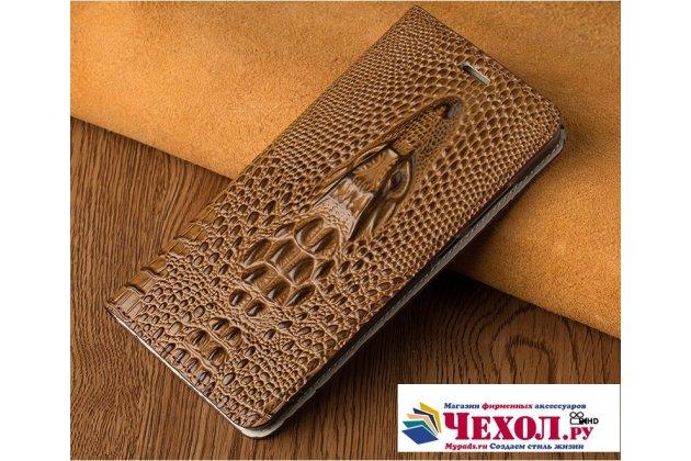 Фирменный роскошный эксклюзивный чехол с объёмным 3D изображением кожи крокодила коричневый для Motorola Moto G4 . Только в нашем магазине. Количество ограничено