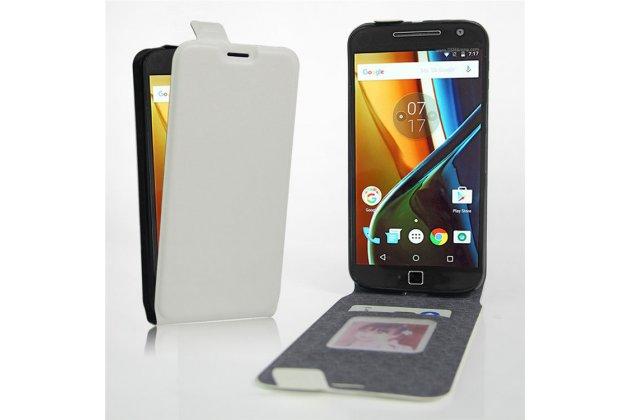 Фирменный оригинальный вертикальный откидной чехол-флип для Motorola Moto G4 белый из натуральной кожи Prestige