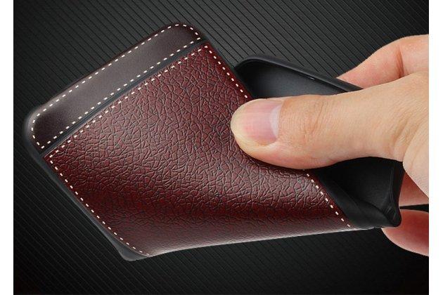 Фирменная премиальная элитная крышка-накладка на Motorola Moto G4 черная из качественного силикона с дизайном под кожу