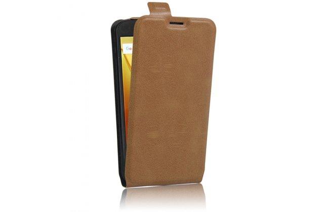 Фирменный оригинальный вертикальный откидной чехол-флип для Motorola Moto G4 коричневый из натуральной кожи Prestige