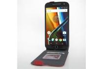 Фирменный оригинальный вертикальный откидной чехол-флип для Motorola Moto G4 красный из натуральной кожи Prestige
