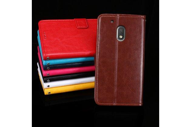 Фирменный чехол-книжка из качественной импортной кожи с подставкой застёжкой и визитницей для Motorola Moto G4 коричневый