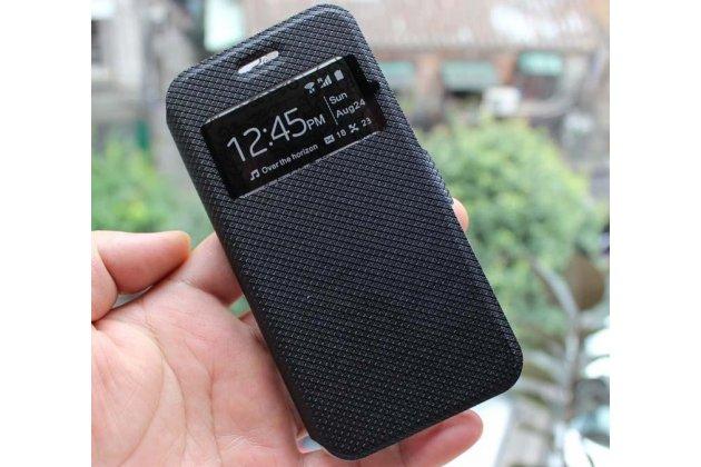 Фирменный оригинальный чехол-книжка для Motorola Moto G4 черный с окошком для входящих вызовов водоотталкивающий