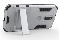 Противоударный усиленный ударопрочный фирменный чехол-бампер-пенал для Motorola Moto G4 серебристый