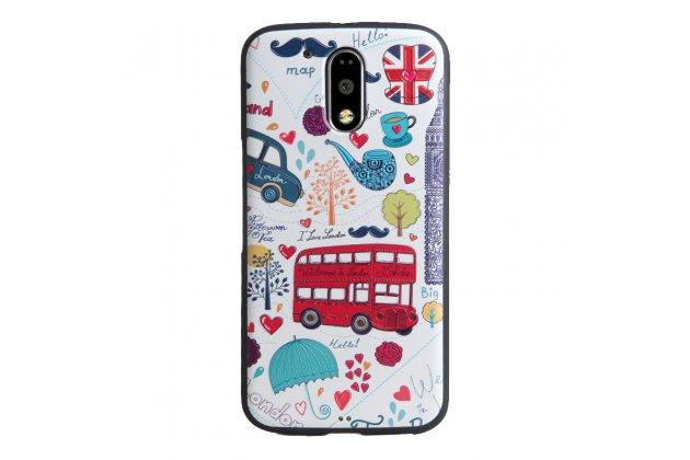 """Фирменная роскошная задняя панель-чехол-накладка  из мягкого силикона с безумно красивым расписным 3D рисунком на Motorola Moto G4 """"тематика Лондон"""""""